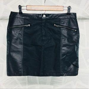 H&M Divided Faux Leather Mini Skirt Black Size 12
